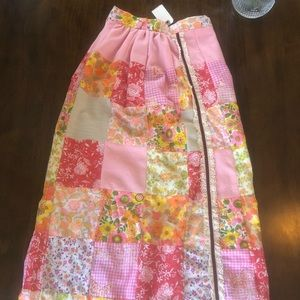 Vintage 1960s Gunne Sax Pink Patchwork Maxi Dress